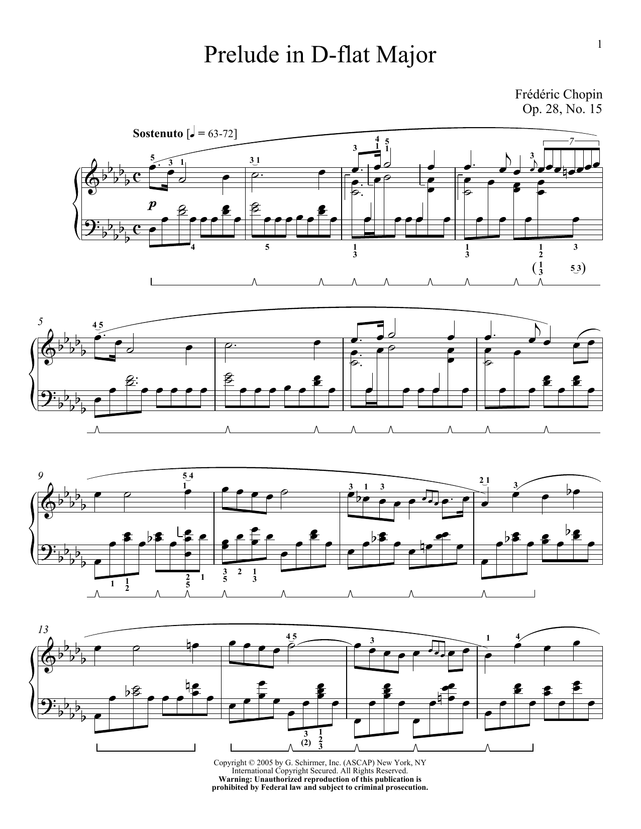 Prelude In D Flat Major, Op. 28, No. 15 (Raindrop) Sheet Music