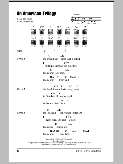 An American Trilogy Sheet Music Elvis Presley Lyrics Chords
