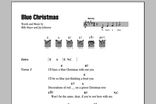 Blue Christmas sheet music by Elvis Presley (Lyrics & Chords – 79677)
