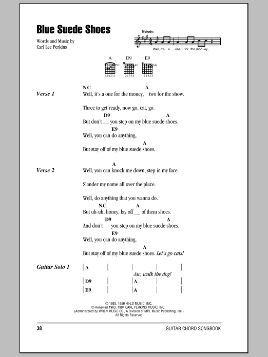 Blue Suede Shoes sheet music by Elvis Presley (Lyrics & Chords – 79678)