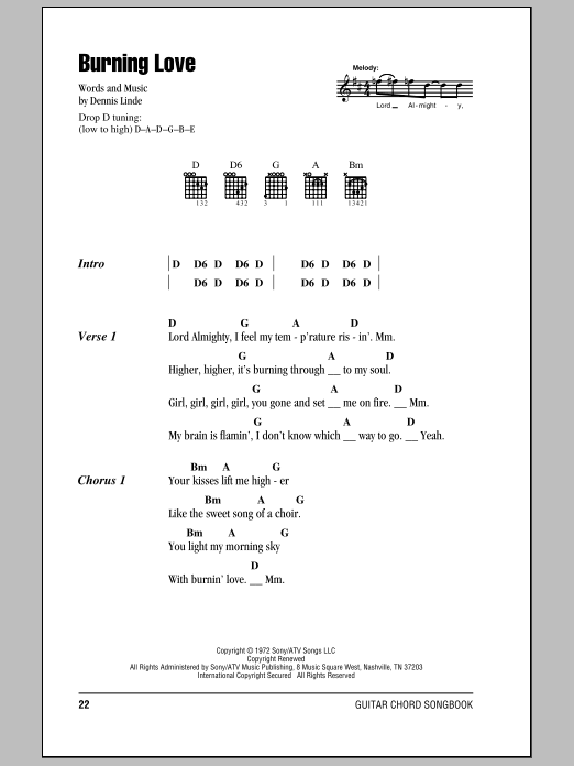 Burning Love Sheet Music