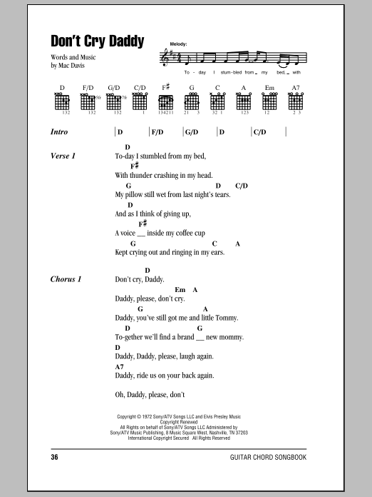 Don't Cry Daddy (Guitar Chords/Lyrics)