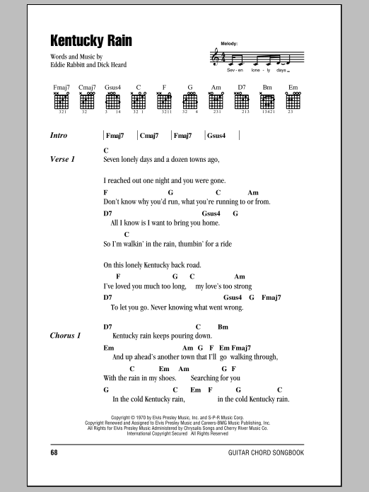 Kentucky Rain Sheet Music