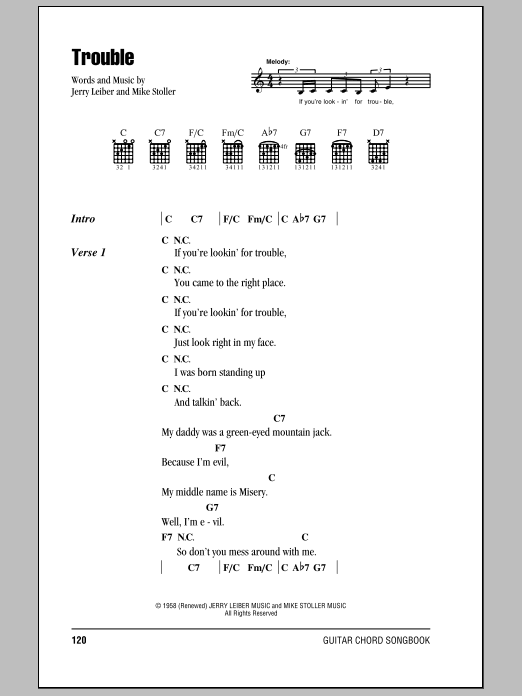 Trouble (Guitar Chords/Lyrics)