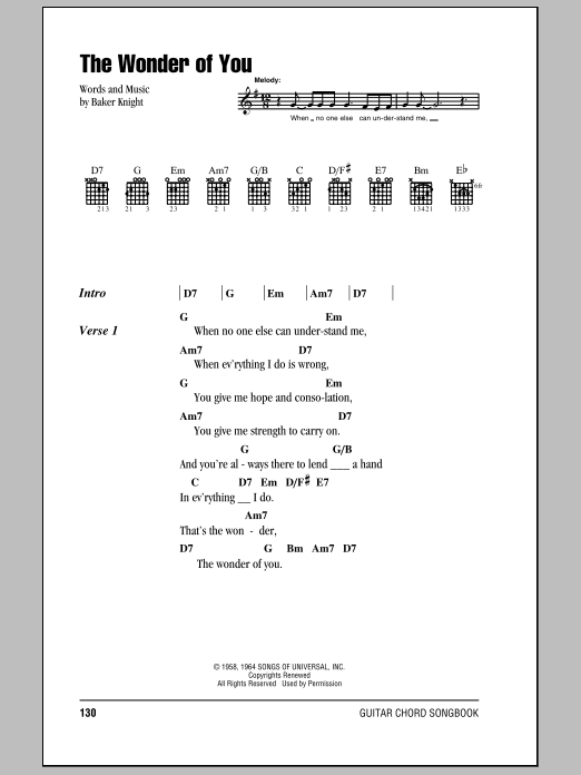 The Wonder Of You by Elvis Presley - Guitar Chords/Lyrics - Guitar ...