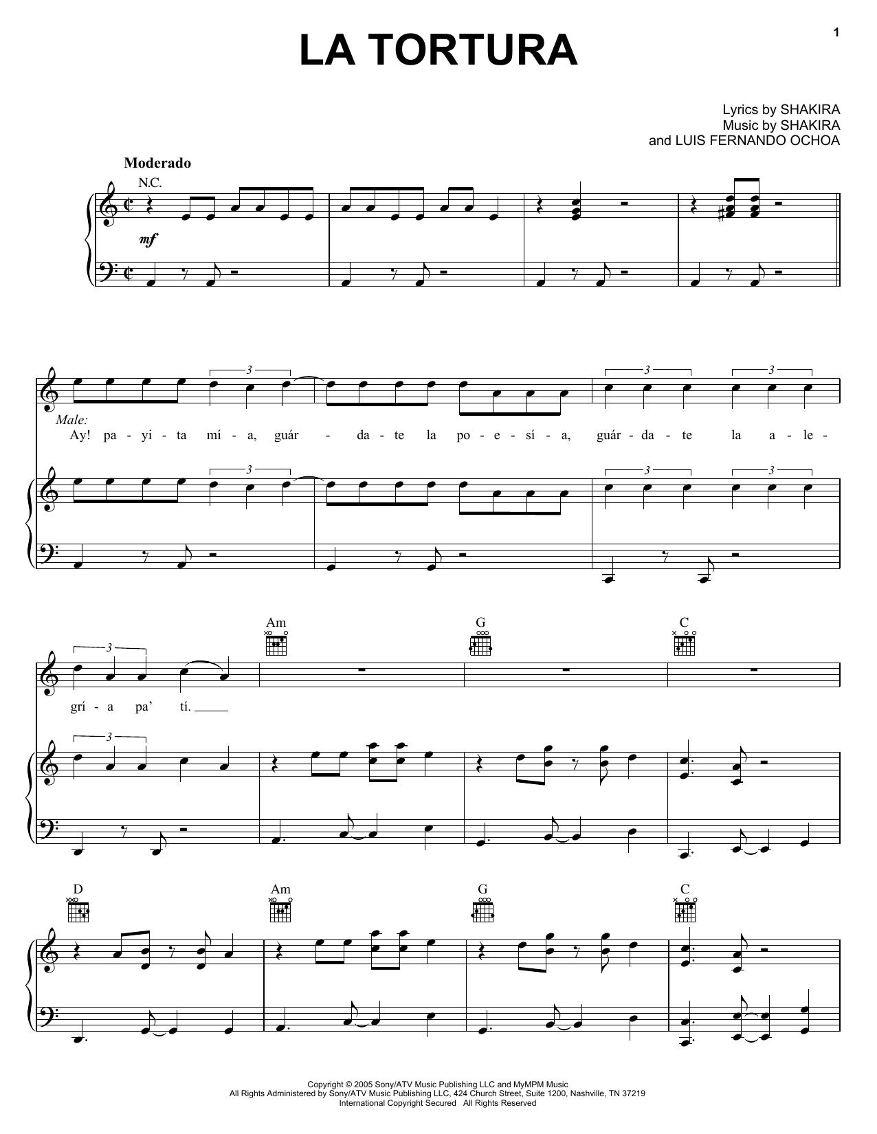 Partition piano La Tortura de Shakira - Piano Voix Guitare (Mélodie Main Droite)
