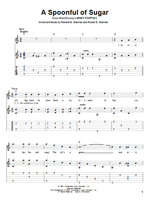 Tablature guitare A Spoonful Of Sugar de Sherman Brothers - Tablature Guitare