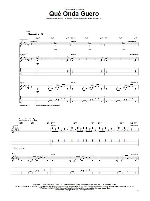 Tablature guitare Que' Onda Guero de Beck - Tablature Guitare