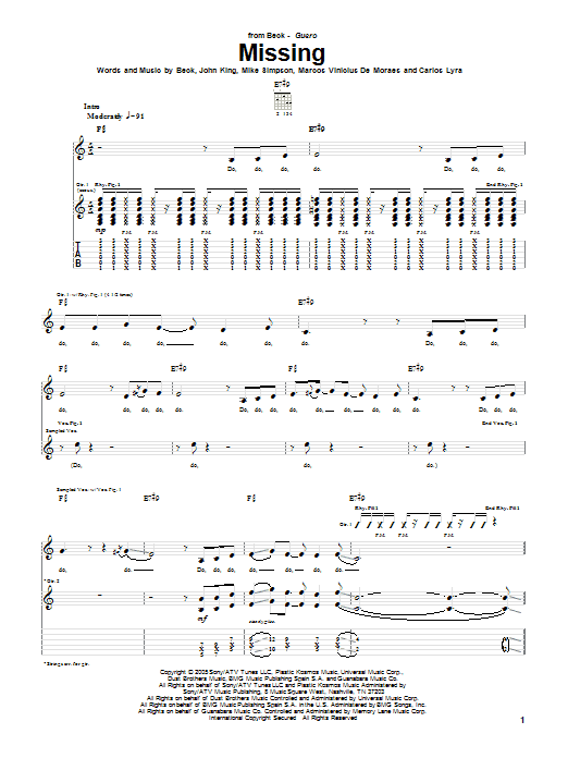 Tablature guitare Missing de Beck - Tablature Guitare