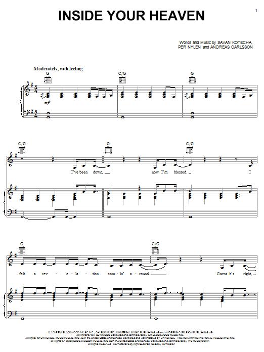 Partition piano Inside Your Heaven de Carrie Underwood - Piano Voix Guitare (Mélodie Main Droite)