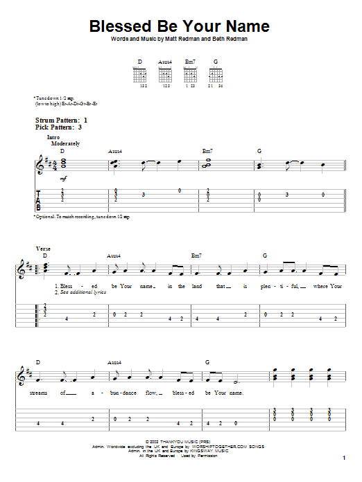 Blessed Be Your Name (Easy Guitar Tab)