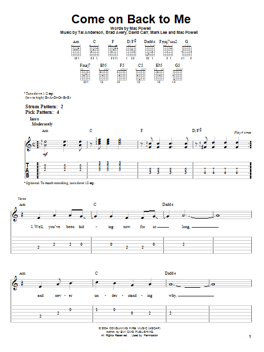 Come On Back To Me (Easy Guitar Tab)