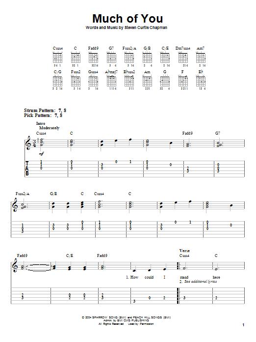 Tablature guitare Much Of You de Steven Curtis Chapman - Tablature guitare facile