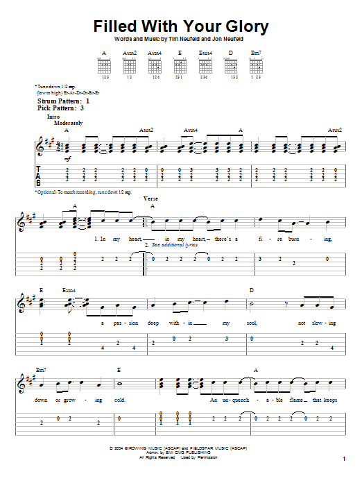 Filled With Your Glory (Easy Guitar Tab)