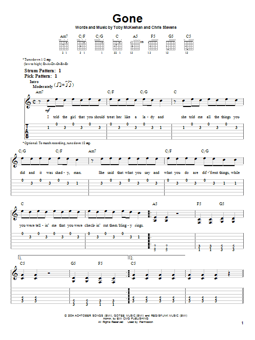 Gone (Easy Guitar Tab)