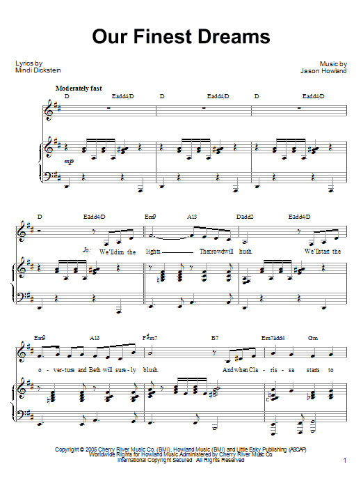 Our Finest Dreams (from Little Women: The Musical) Sheet Music