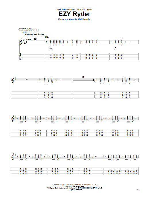 Tablature guitare EZY Ryder (Live) de Jimi Hendrix - Tablature Guitare