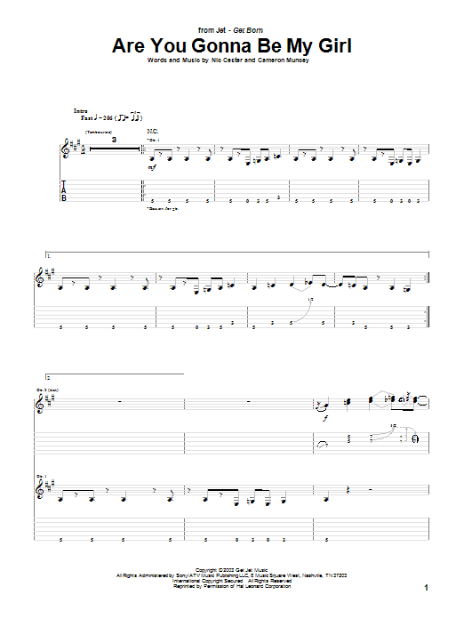 Are You Gonna Be My Girl Sheet Music