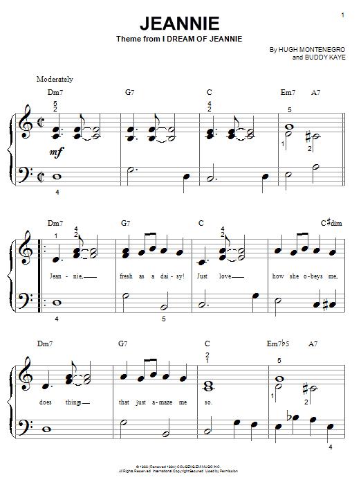 Partition piano Jeannie (theme from I Dream Of Jeannie) de Hugh Montenegro - Autre