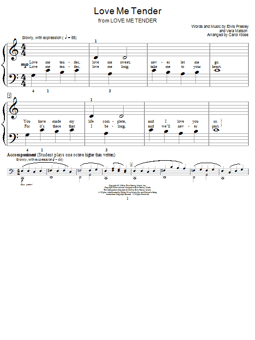 Love Me Tender Sheet Music