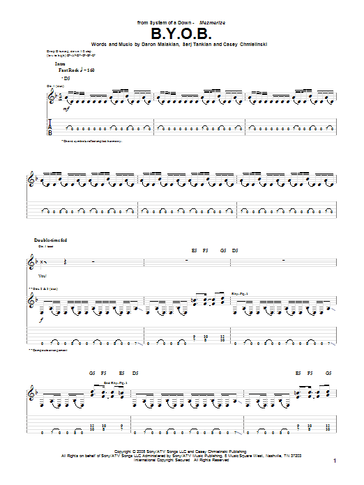 Tablature guitare B.Y.O.B. de System Of A Down - Tablature Guitare