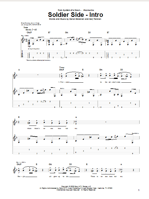 Tablature guitare Soldier Side (Intro) de System Of A Down - Tablature Guitare