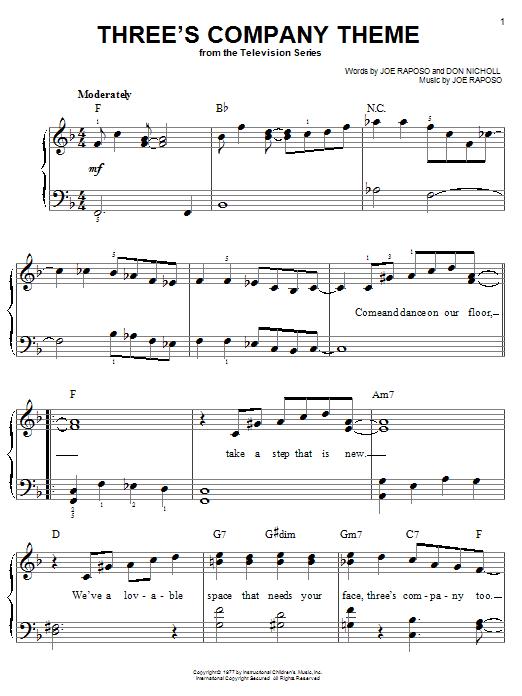 Three's Company Theme (Easy Piano)
