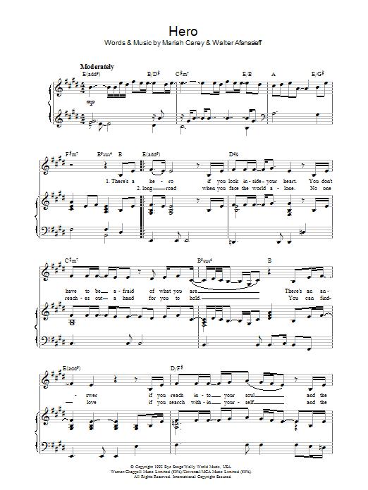 Hero (Piano, Vocal & Guitar)