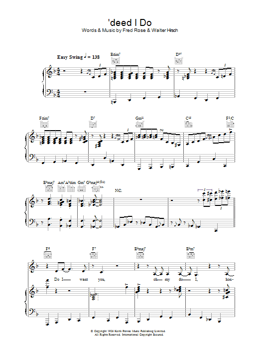 'Deed I Do Sheet Music