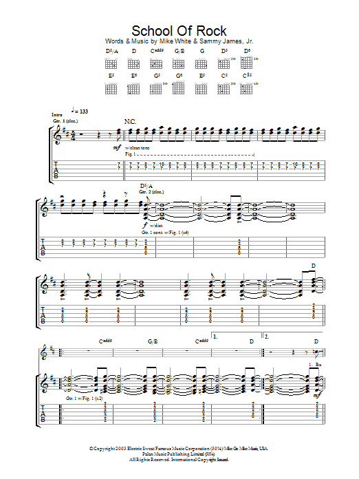 School of rock sheet music direct for Schoolhouse music