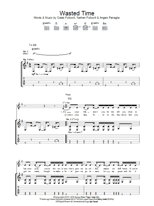Wasted Time (Guitar Tab)