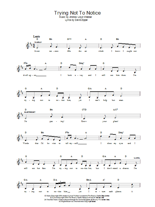 Trying Not To Notice (from The Woman In White) Sheet Music