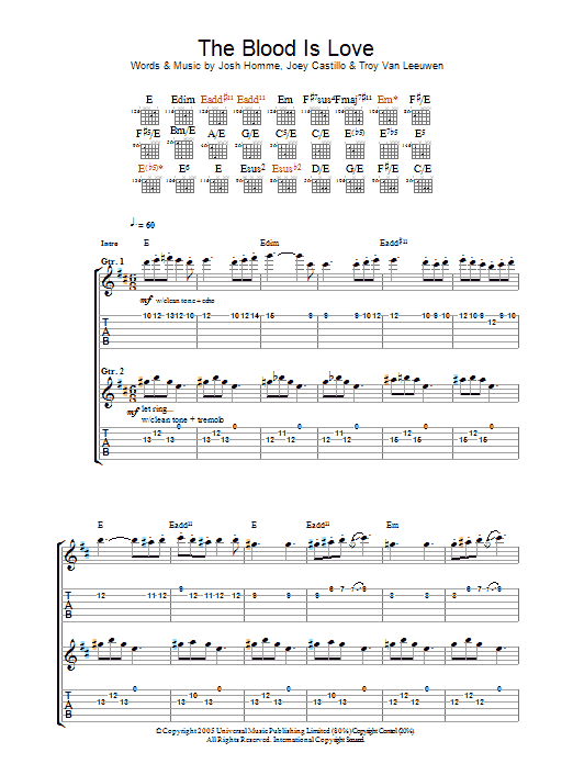 The Blood Is Love Sheet Music