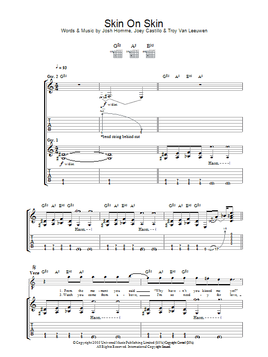 Skin On Skin (Guitar Tab)