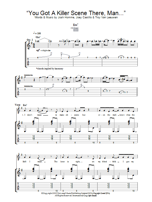 You Got A Killer Scene There, Man (Guitar Tab)