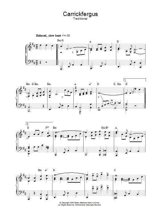 Carrickfergus Sheet Music