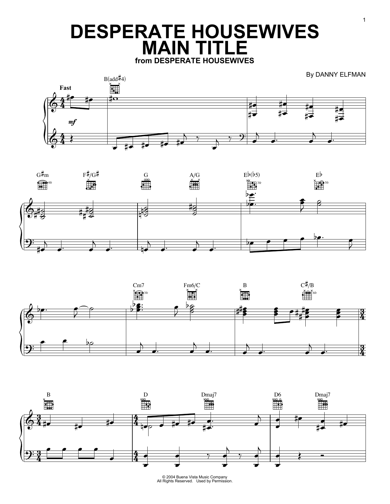 Desperate Housewives Main Title (Piano Solo)