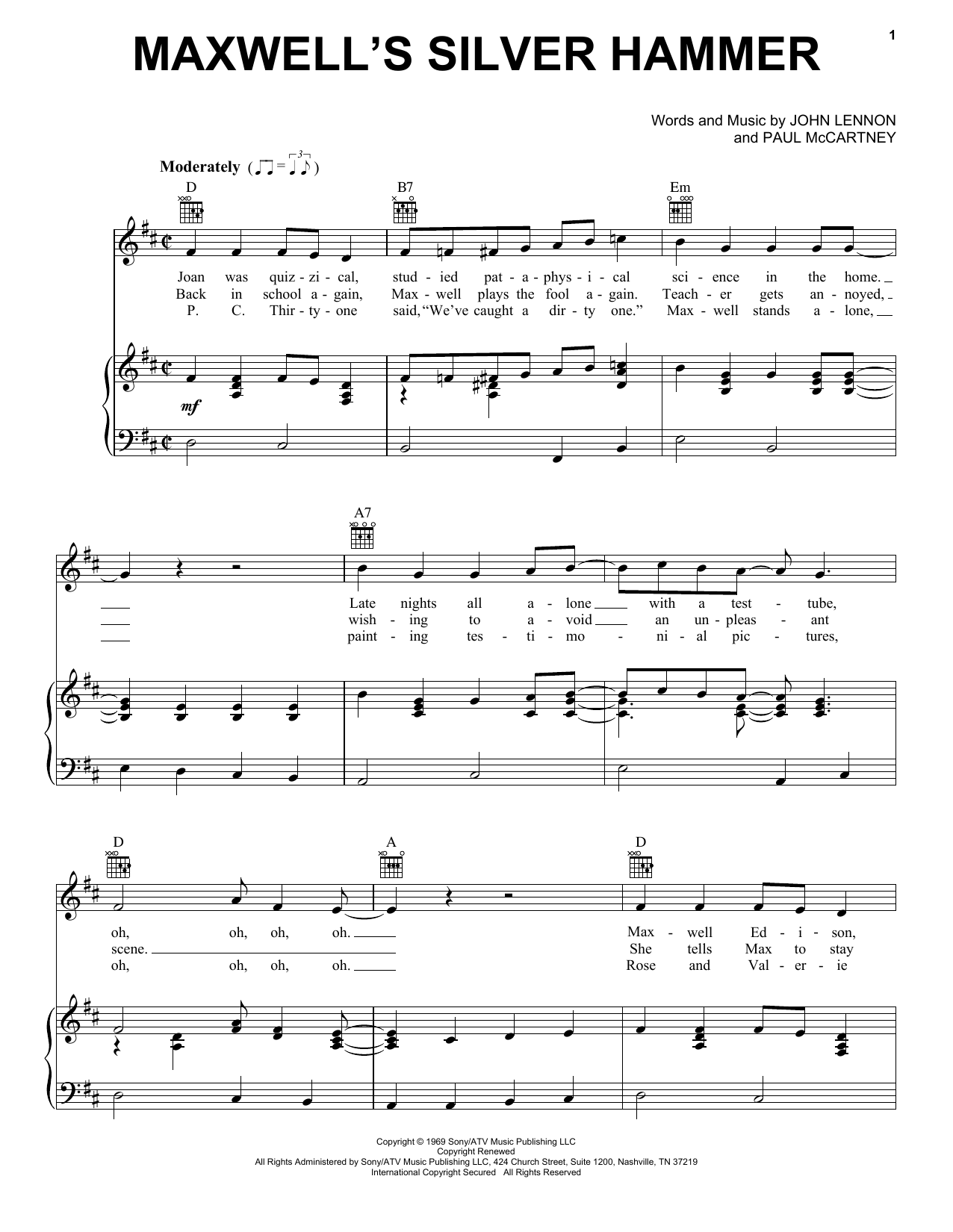 Maxwell's Silver Hammer (Piano, Vocal & Guitar (Right-Hand Melody))
