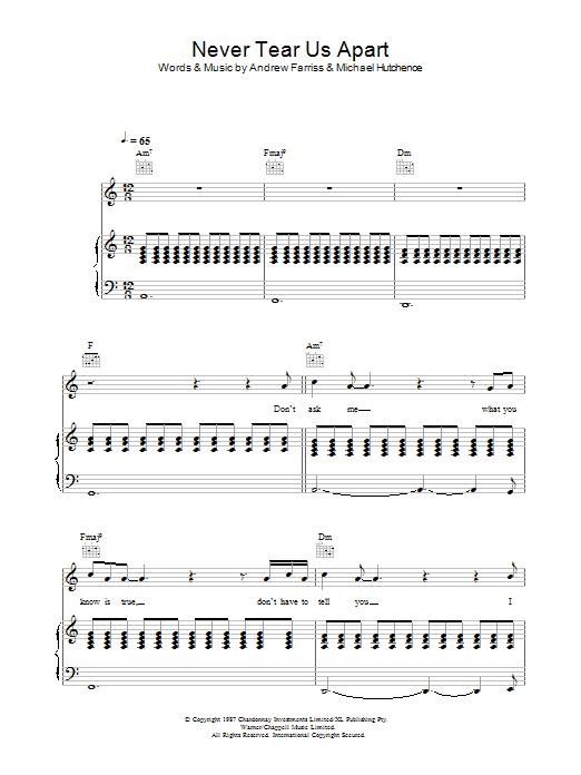 Never Tear Us Apart (Piano, Vocal & Guitar)