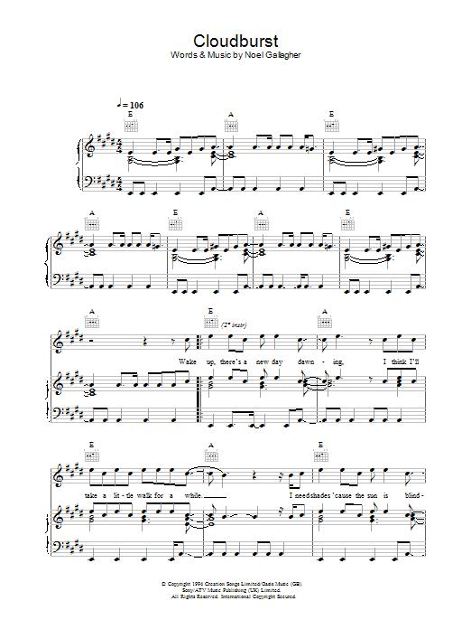 Cloudburst (Piano, Vocal & Guitar)