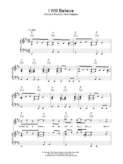I Will Believe (Piano, Vocal & Guitar)