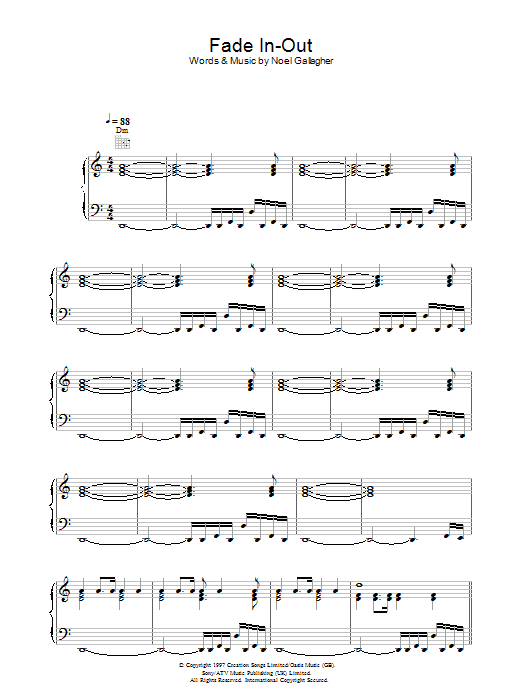Fade In-Out (Piano, Vocal & Guitar)