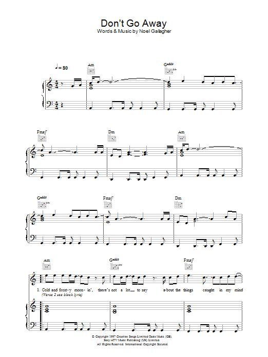 Don't Go Away (Piano, Vocal & Guitar)