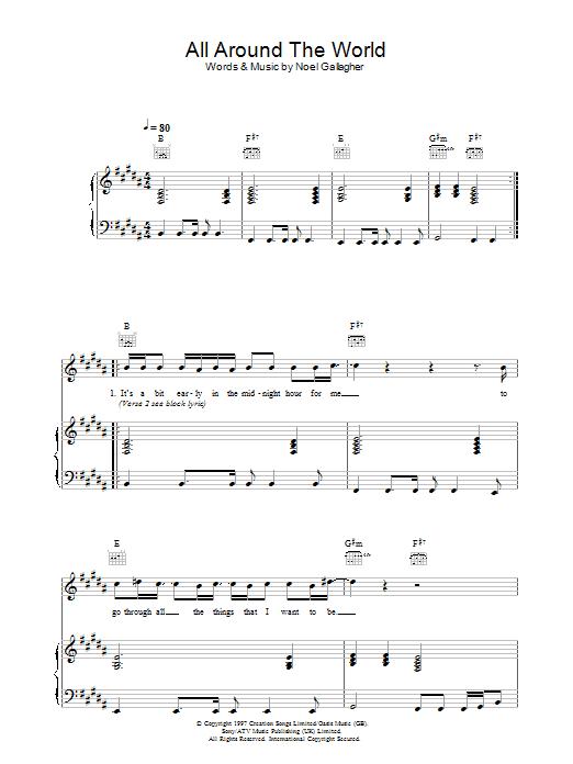 All Around The World (Reprise) (Piano, Vocal & Guitar)