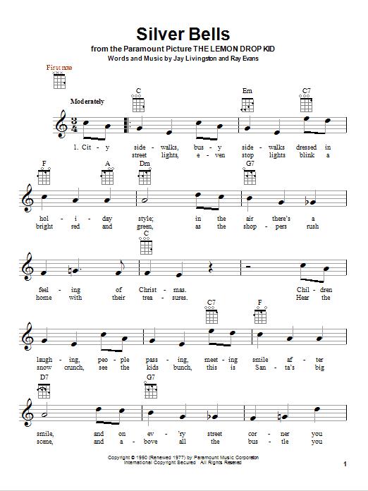 Tablature guitare Silver Bells de Jay Livingston - Ukulele