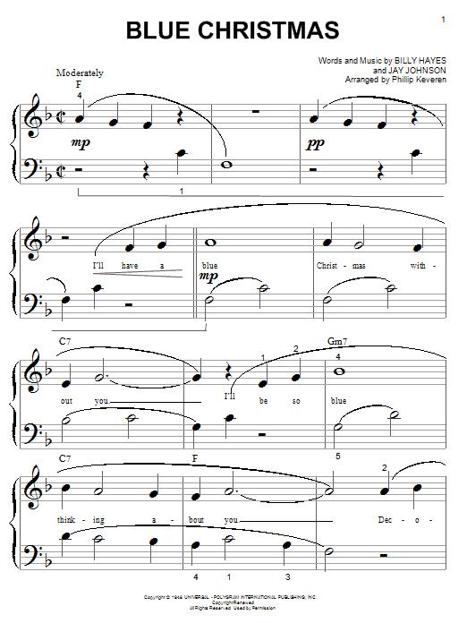 Blue Christmas (Big Note Piano)