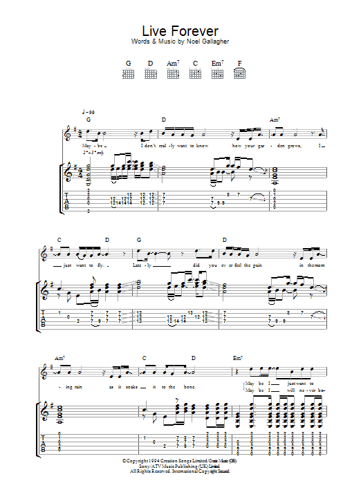 Live Forever (Guitar Tab)