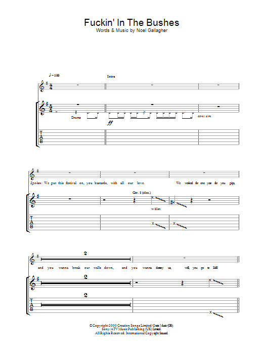 F***in' In The Bushes (Guitar Tab)