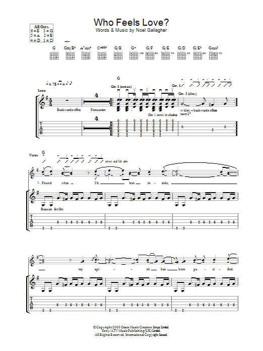 Who Feels Love? (Guitar Tab)