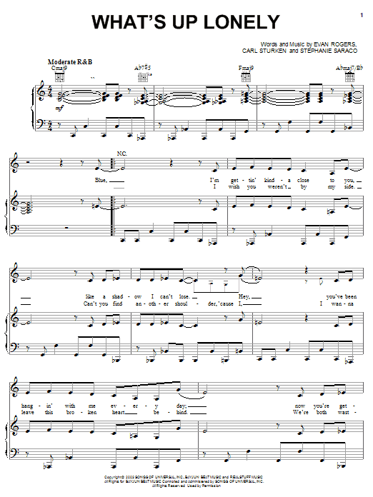 What's Up Lonely (Piano, Vocal & Guitar (Right-Hand Melody))